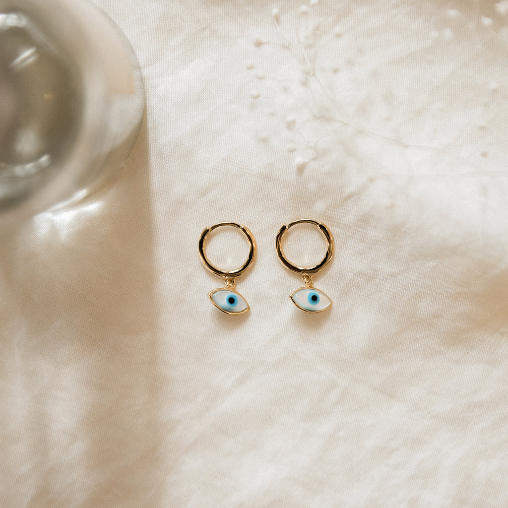 Eye Charm Hoop Earrings | MOP - She's Unique Jewelry