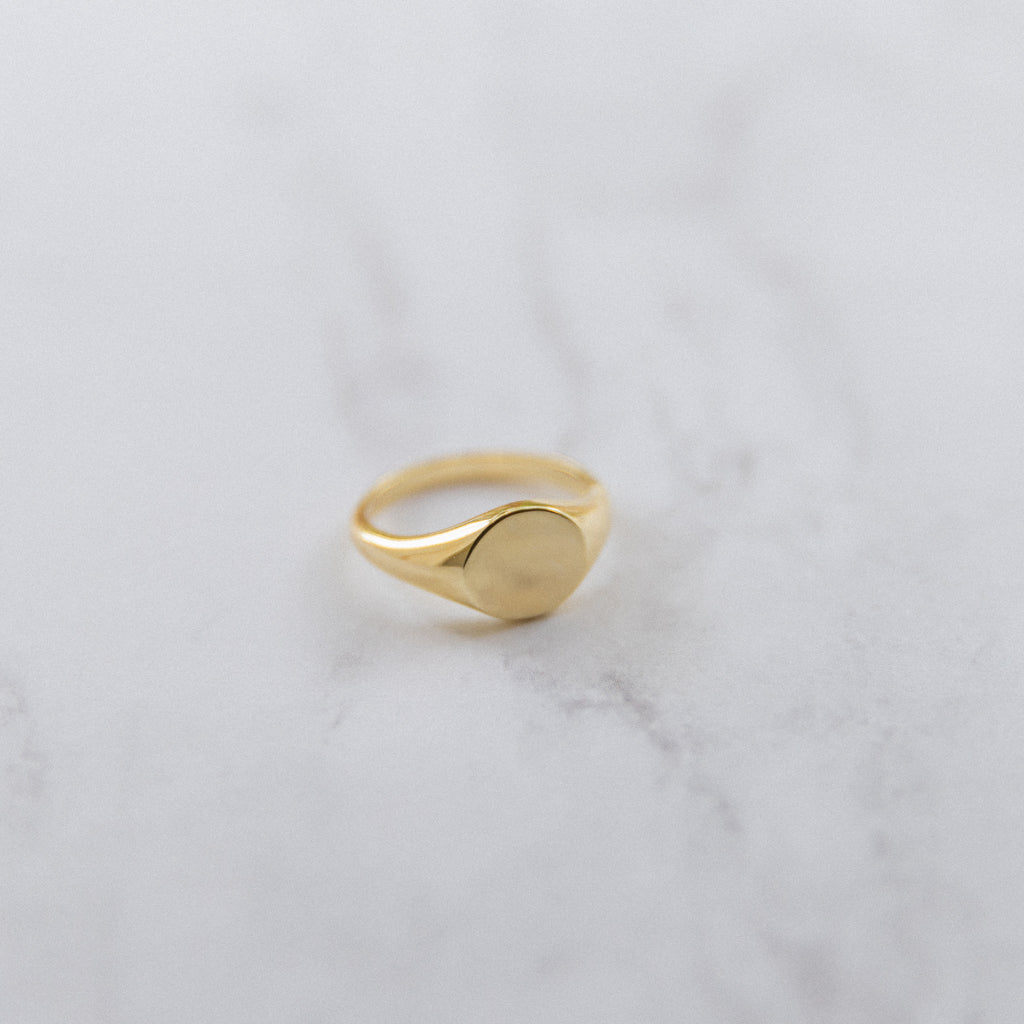 Small Round Signet Ring - She's Unique Jewelry