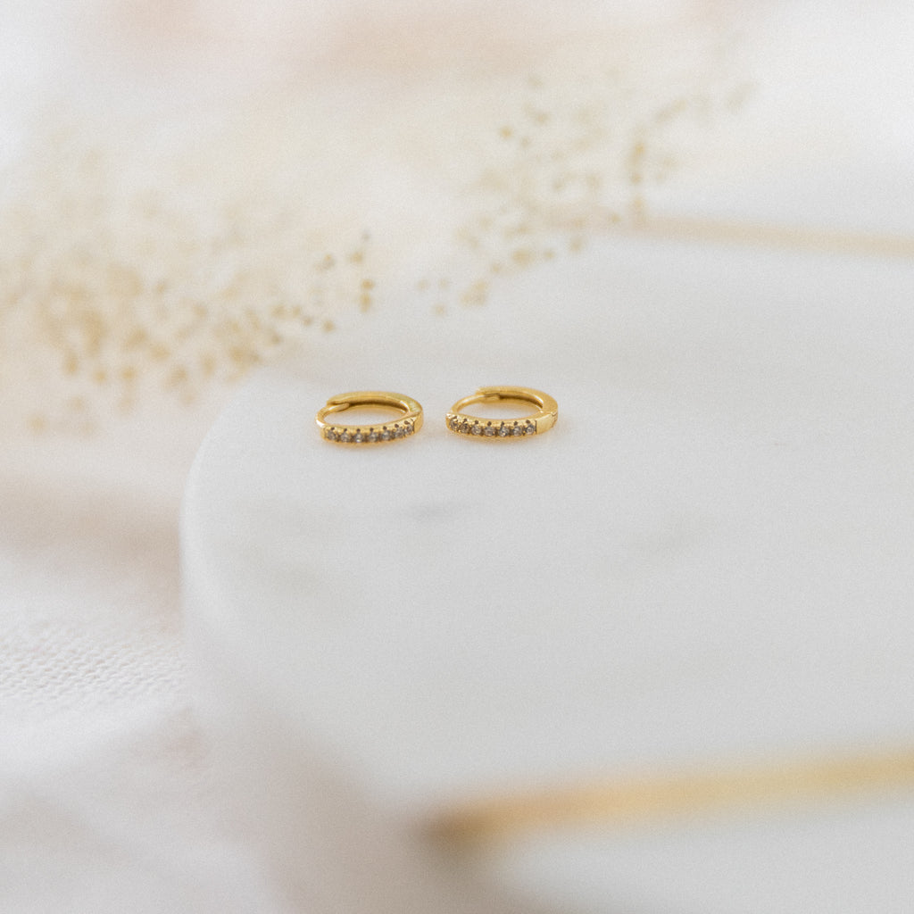 Small Huggie Hoop Earrings | CZ - She's Unique Jewelry