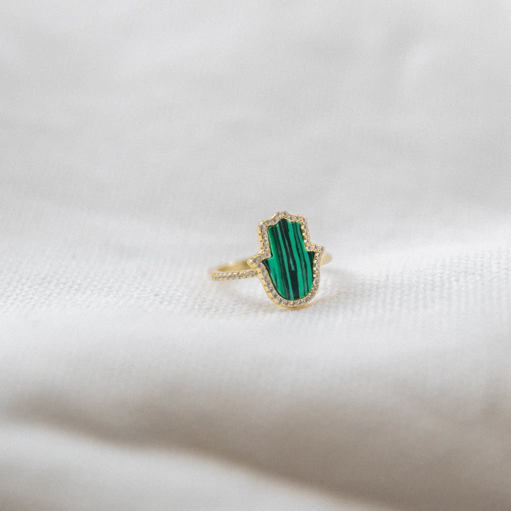 Large Hamsa Ring | Malachite - She's Unique Jewelry