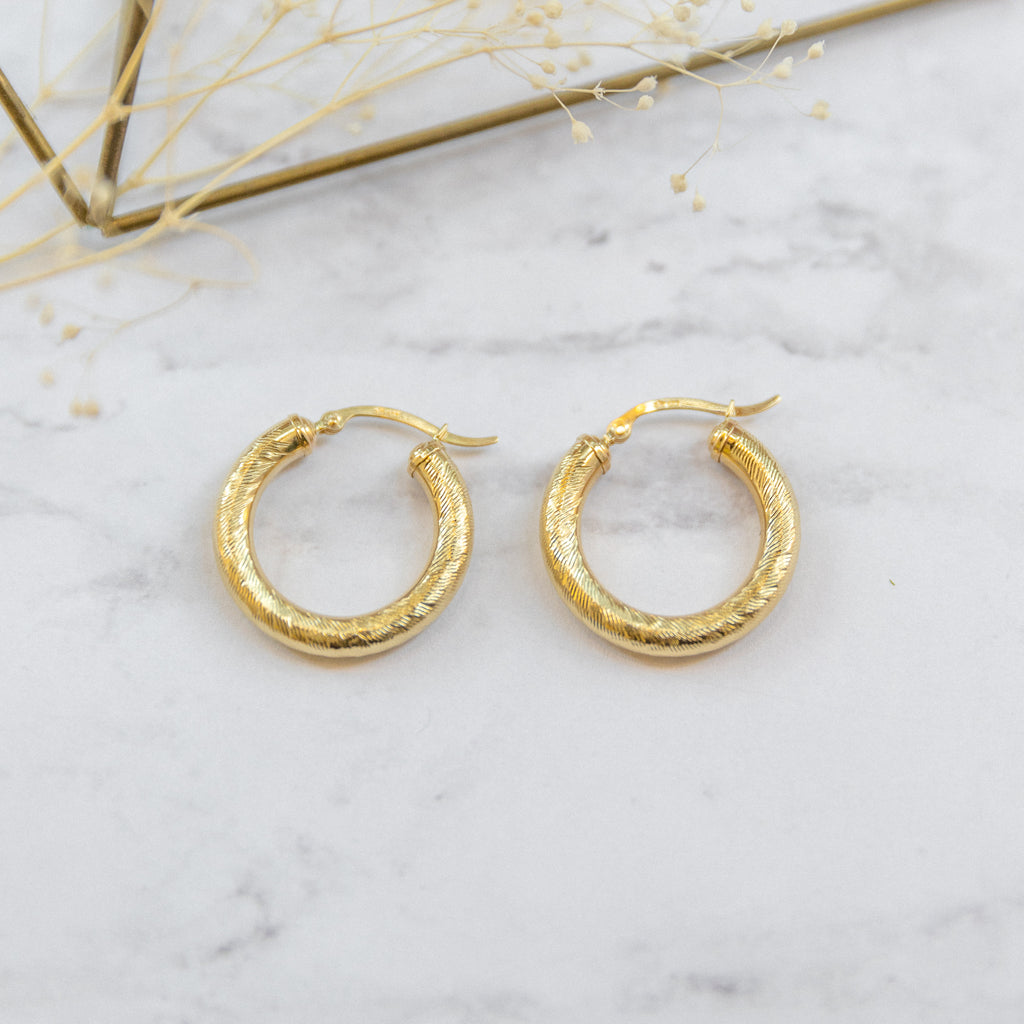 Medium Brushed Classic Hoops | 10K - She's Unique Jewelry