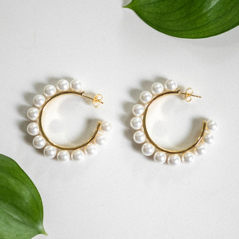 Pearl Hoops | Large - She's Unique Jewelry