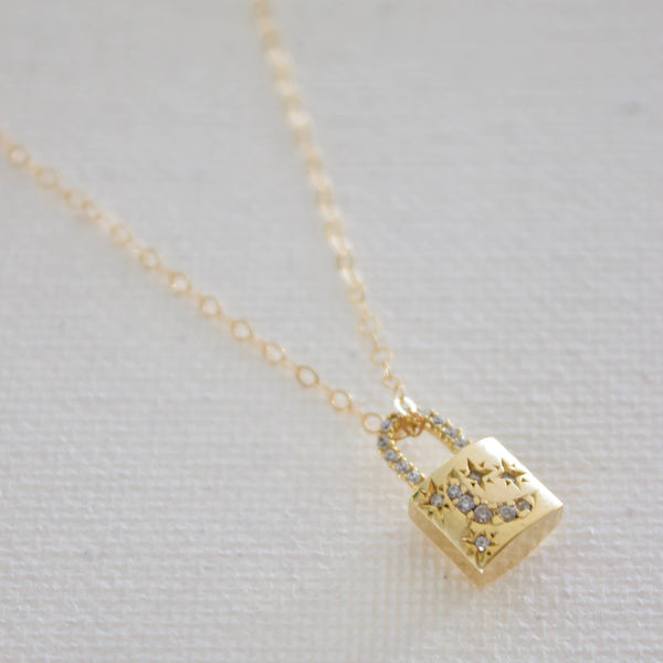 Petite Lock Charm Necklace