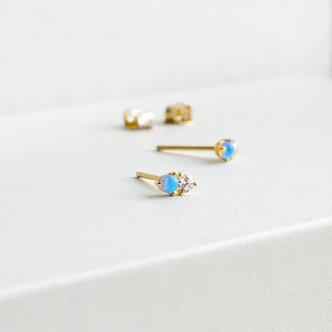 Tiny double stone stud earrings - She's Unique Jewelry