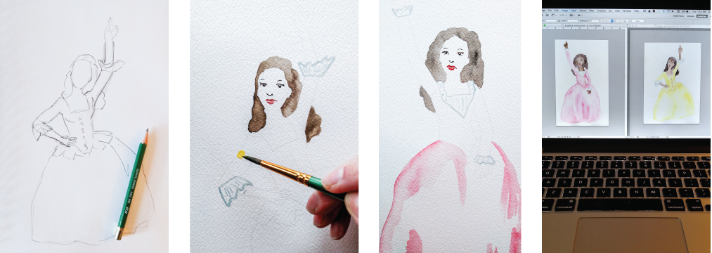 Watercolor Painting Process - Behind the Scenes at The Casey BarberSHOP