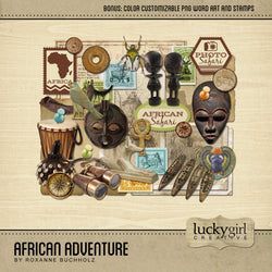 African Adventure Digital Scrapbook Kit by Lucky Girl Creative