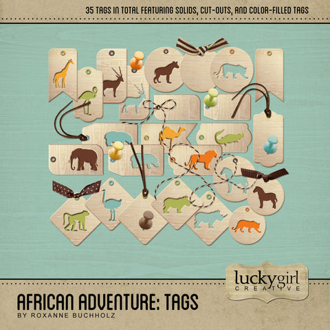 African Adventure Tags Digital Scrapbook Kit by Lucky Girl Creative