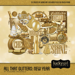 All That Glitters New Year Digital Scrapbook Kit by Lucky Girl Creative