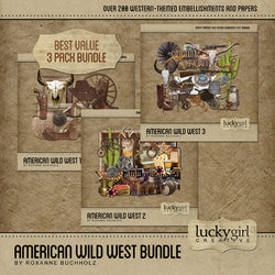 American Wild West Discounted Bundle Digital Scrapbook Kit by Lucky Girl Creative