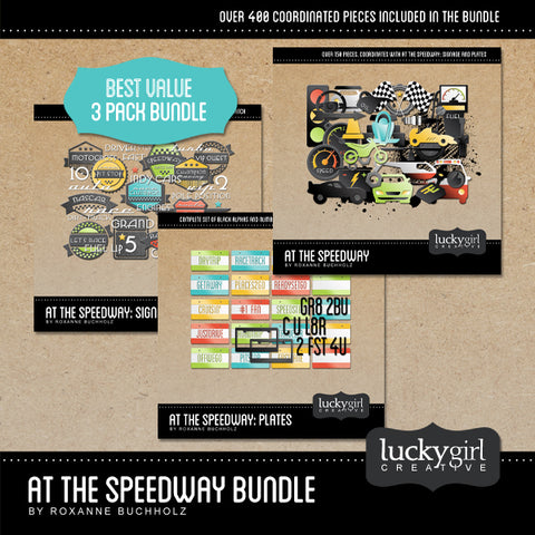 At the Speedway Discounted Bundle Digital Scrapbook Kit by Lucky Girl Creative
