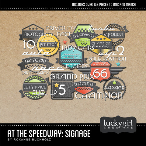 At the Speedway Signage Digital Scrapbook Kit by Lucky Girl Creative