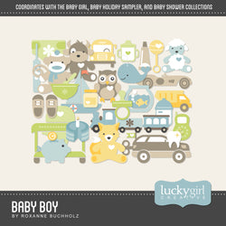 Baby Boy Digital Scrapbook Kit by Lucky Girl Creative