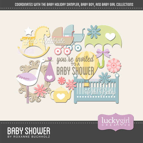 Baby Shower Digital Scrapbook Kit by Lucky Girl Creative