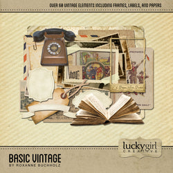 Basic Vintage Digital Scrapbook Kit by Lucky Girl Creative