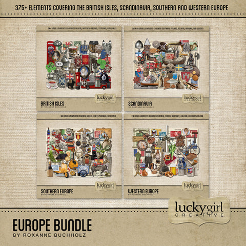 Europe Discounted Bundle Digital Scrapbook Kit by Lucky Girl Creative