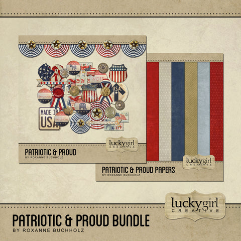 Patriotic and Proud Discounted Bundle Digital Scrapbook Kit by Lucky Girl Creative