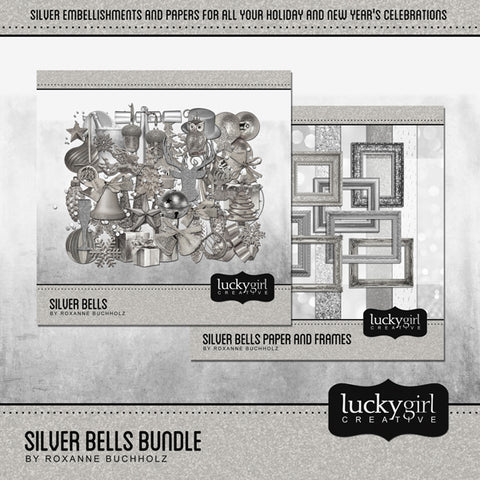 Silver Bells Discounted Bundle Digital Scrapbook Kit by Lucky Girl Creative