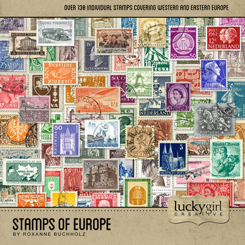 Stamps of Europe Digital Scrapbook Kit by Lucky Girl Creative