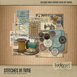 Stitches in Time Digital Scrapbook Kit by Lucky Girl Creative