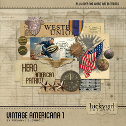 Vintage Americana 1 Digital Scrapbook Kit by Lucky Girl Creative