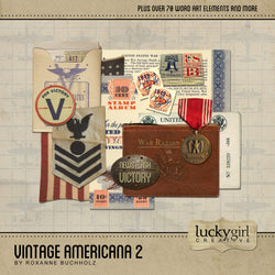 Vintage Americana 2 Digital Scrapbook Kit by Lucky Girl Creative