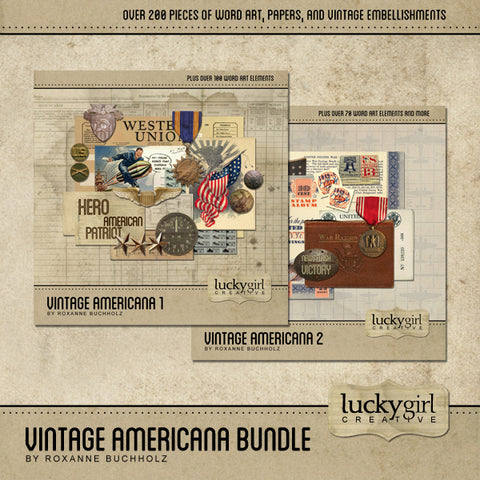 Vintage Americana Discounted Bundle Digital Scrapbook Kit by Lucky Girl Creative