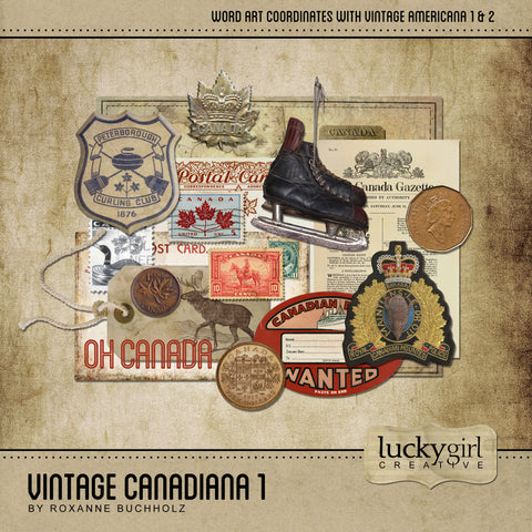 Vintage Canadiana 1 Digital Scrapbook Kit by Lucky Girl Creative