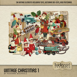Vintage Christmas 1 Digital Scrapbook Kit by Lucky Girl Creative