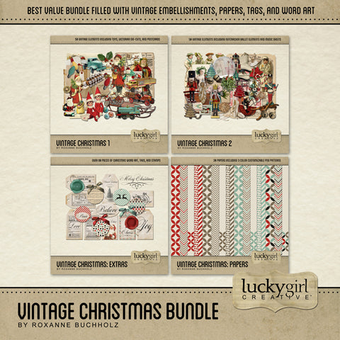 Vintage Christmas Discounted Bundle Digital Scrapbook Kit by Lucky Girl Creative