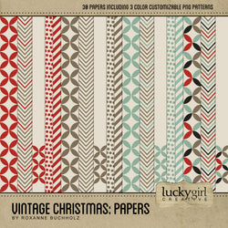 Vintage Christmas Papers Digital Scrapbook Kit by Lucky Girl Creative