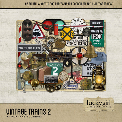 Vintage Trains 2 Digital Scrapbook Kit by Lucky Girl Creative