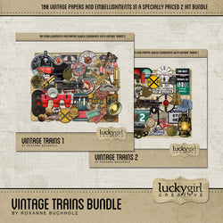Vintage Trains Discounted Bundle Digital Scrapbook Kit by Lucky Girl Creative