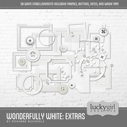 Wonderfully White Extras Digital Scrapbook Kit by Lucky Girl Creative