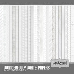 Wonderfully White Papers Digital Scrapbook Kit by Lucky Girl Creative