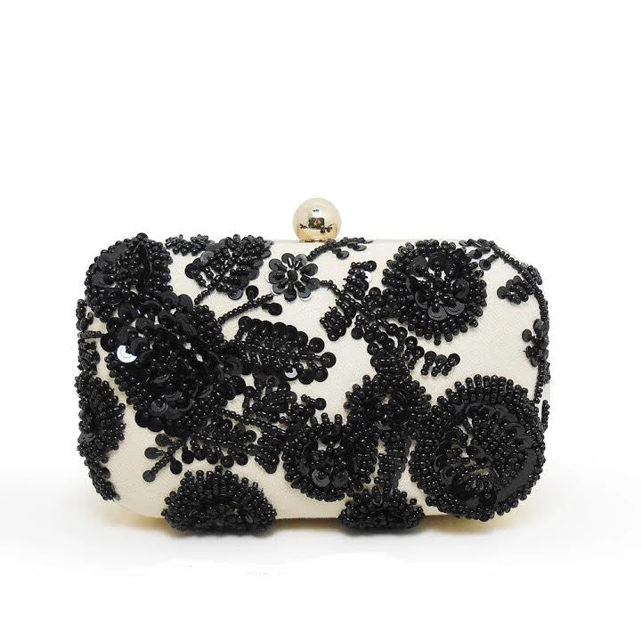 The Black Florence Begonia Clutch