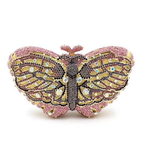 Butterfly Crystal Clutch Handwork Bag