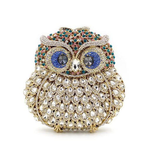 Crystal Owl Evening Clutch Handwork Bag