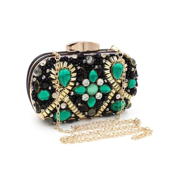 Rhinestone Pearl Beaded Juniper Clutch