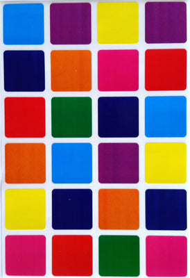 "Color Coding Square 1"" Labels Multi Pack"