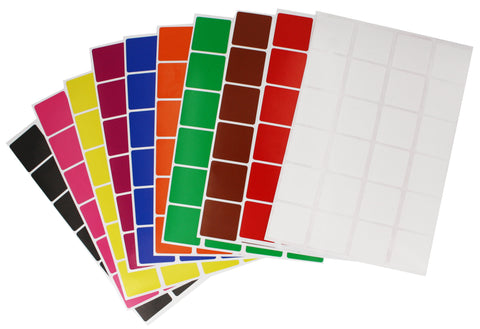 Square Stickers 1 inch x 1 inch Combo colors 25mm