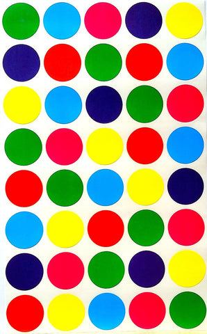 Round Dot Labels ¾ Inch 6 Colors Combination