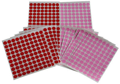"Dot Stickers ½"" Red & Pink Color Coding Labels 13mm"