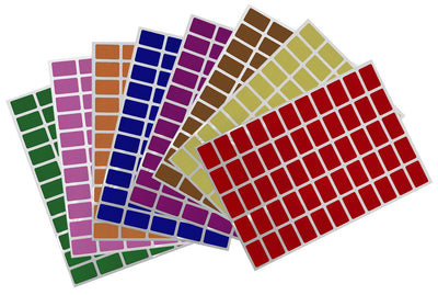 Rectangular stickers 1 x 0.625 inch Combo colors 25.5mm x 16mm