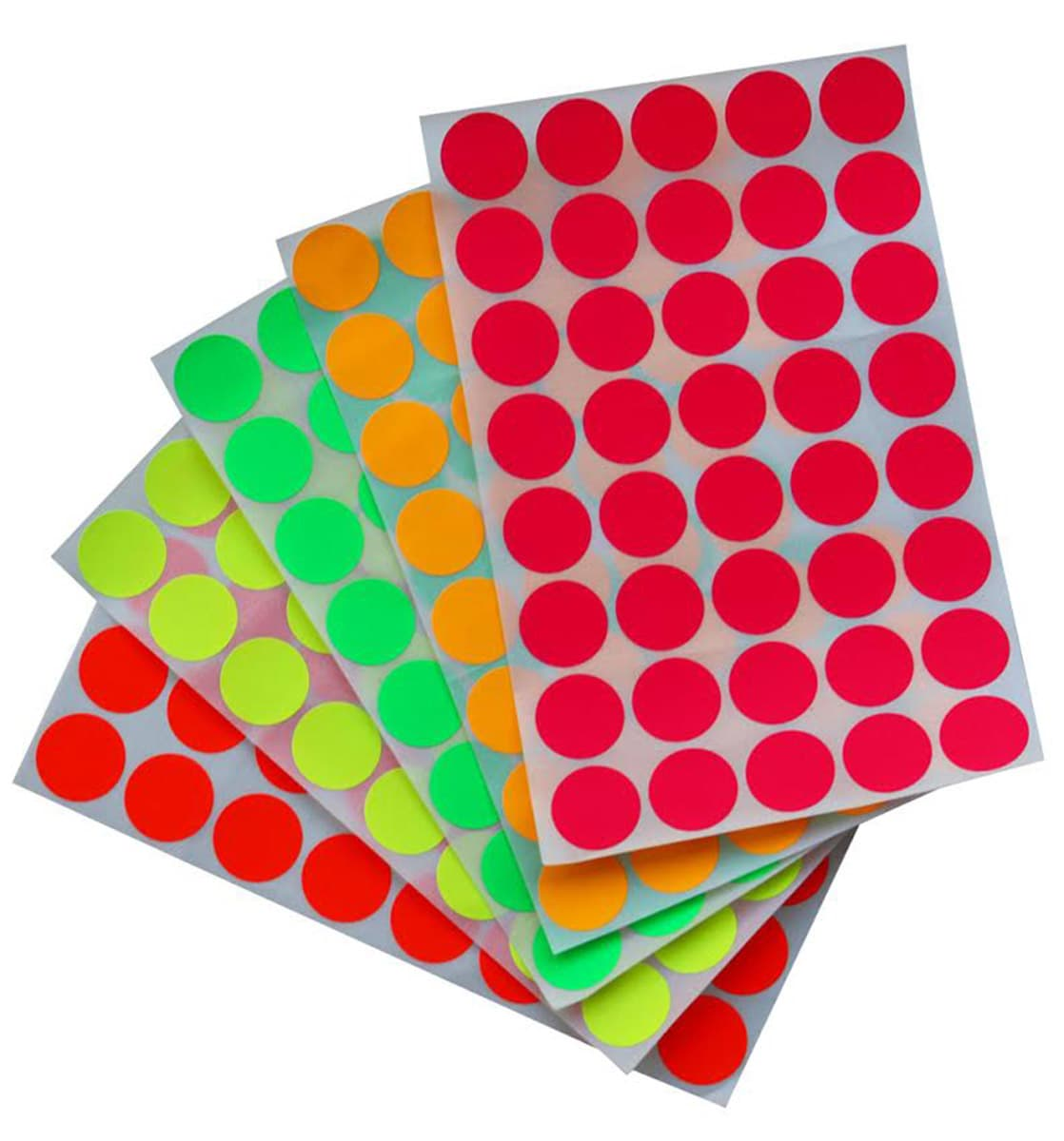 round labels 19mm neon color stickers royal green market