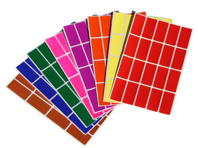 Rectangular stickers 1.57 x 0.75 inch 40mm x 19mm Color coding labels