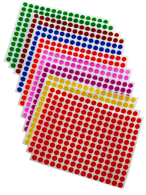 "Dot stickers (Approximately 1/4 inch) 5/16"" Combo colors 8mm"