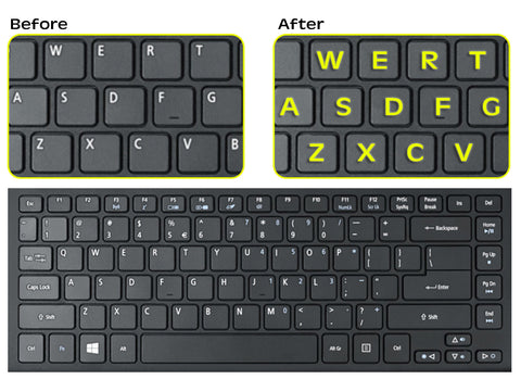 Fluorescent Keyboards Replacement Stickers for PC