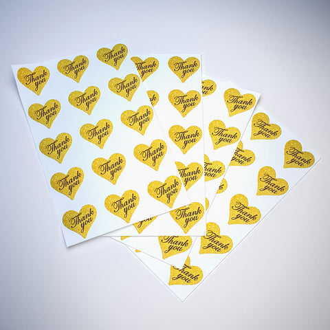 "Thank You Stickers Gold Heart Labels 1.5"" x 1.75"""
