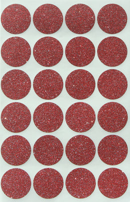Red sticker dot glitter seals 1 inch  25mm