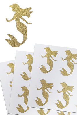 Mermaid Glitter Stickers 2 Inch For Party Supplies, Envelopes and Invitation Seals